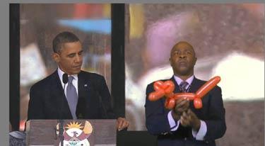 'Fake interpreter' at Mandela memorial enrages deaf ...  |Barack Obama Sign Language